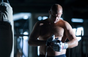 Fedor putting on gloves